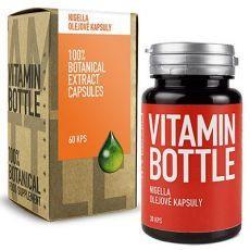 černuška siata (nigella sativa) vitamin bottle kapsuly