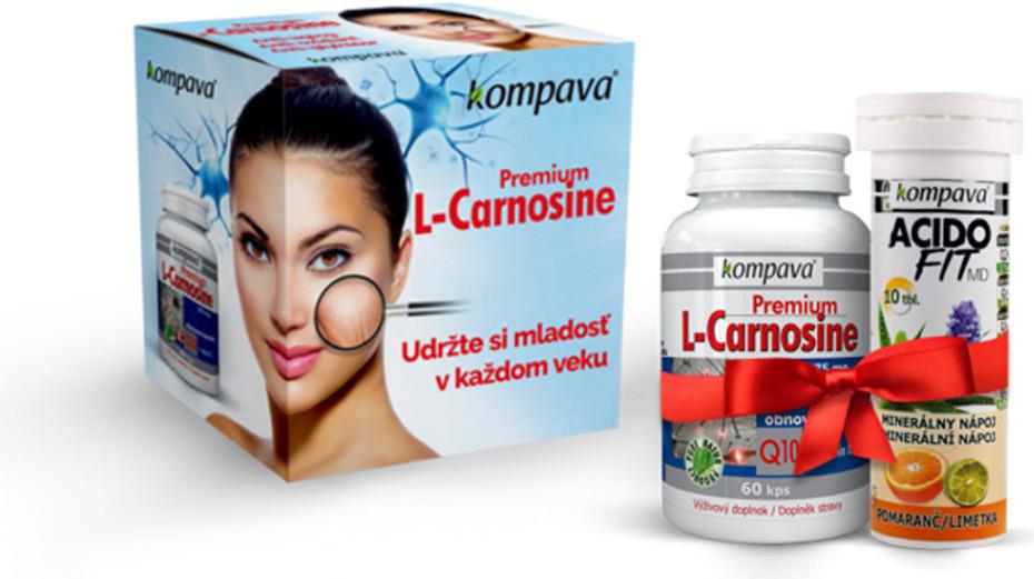 Kompava premium L-carnosine - obnova buniek, Q10, vitamín E
