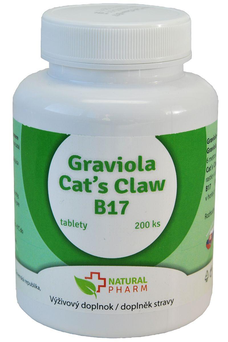 graviola, mačací pazúr a vitamín B17 200 tabliet