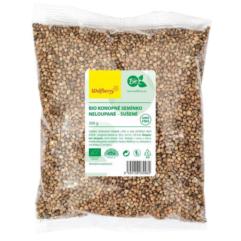konopné semienka nelúpané wolfberry bio 500g