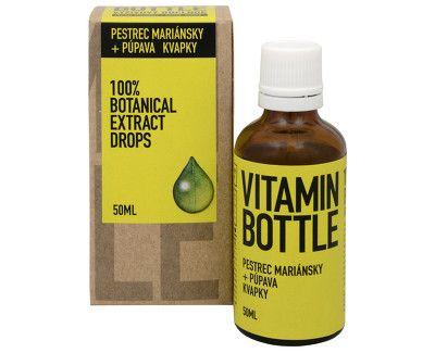 vitamin bottle pestrec mariánsky a púpava lekárska kvapky